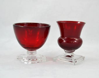 Vintage Ruby Red Cups With Clear Bases, Red Glass Cup With Clear Base