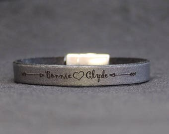 black/silver leather bracelet - personalised with your name, phrase or date
