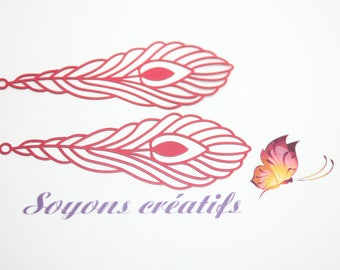 Set of 2 prints 24x68mm - making Red Feather leaf charms connectors and high quality Premium European-