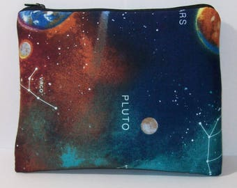 """Pipe Pouch, Astronomy Bag, Pipe Case, Space Pipe Bag, XL Zipper Bag, Padded Pipe Pouch, Hippie, Stoner, 420, Gadget Bag, 7.5"""" x 6"""" - X LARGE"""