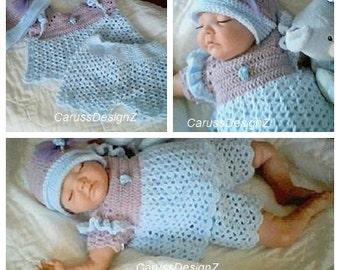 0044B Baby Girls 3 Pc Set Blue Lagoon Crochet Pattern by CarussDesignZ