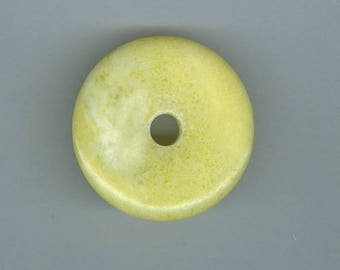 Yellow Focal Donut, 40mm Yellow Green Lemon Jasper Gemstone PI Donut Pendant Focal Bead 224