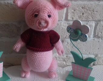 crochet piggy handmade toys  pink piggy