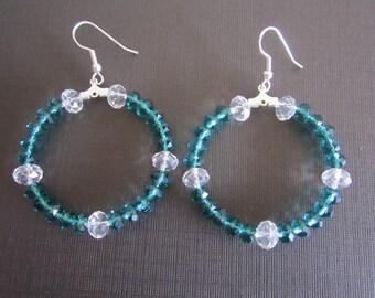 Green Czech Glass Bead Hoop Earrings