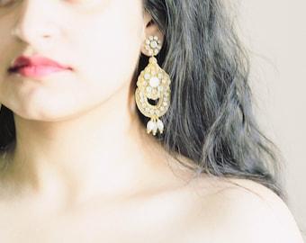 Large Bridal Earring Gold, Wedding Earrings Pearl, Wedding Earrings Crystal, Opal Bridal Earrings - Style E16
