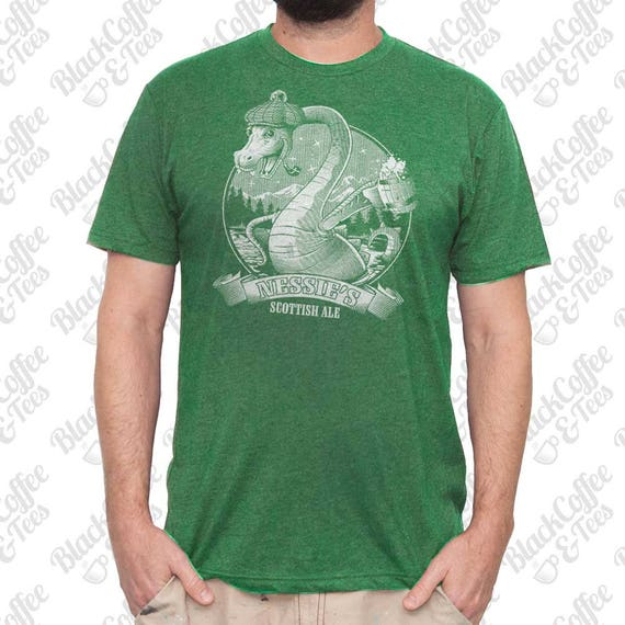 St. Patricks Day Shirt - Loch Ness Monster Shirt - Craft Beer Shirt - Nessie The Loch Ness Monster Hand Printed on a Mens Green T Shirt