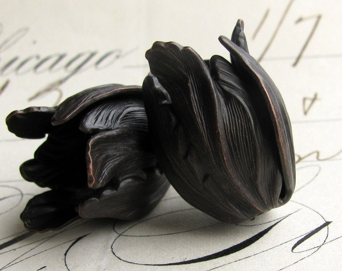 Black Tulip bead cap - black antiqued brass flowers (2 bead caps) flourish petal, blooming trumpet flower, aged patina