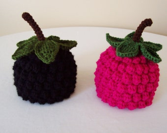 Baby Raspberry or Blackberry Hat - 0 to 3 Months, 3 to 6 Months, 6 to 12 Months - Black, Raspberry Pink - Fruit, Berry, Harvest