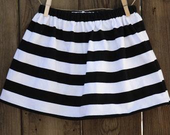 Girl's Black and White Stripe Skirt | Baby Skirt | Toddler Skirt | Twirl Skirt