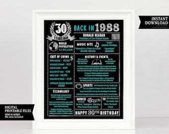30th Birthday Chalkboard, 30th Birthday For Him, 1988 Poster, 30th Birthday Gift, Gift 1988 Birthday Poster 30th Birthday Decoration, Thirty