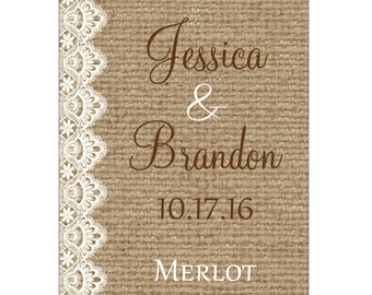 60 - 3x4 inch Burlap / Linen and Lace Rustic Wedding Wine Bottle / Rectangle Waterproof Labels - hundreds of designs WN-051