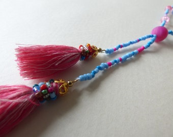 tangy blue and pink necklace - Made in FRANCE