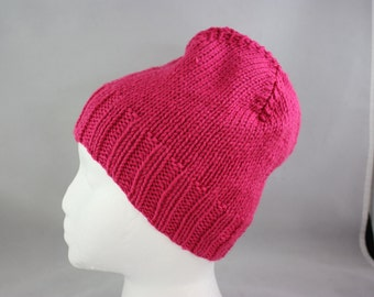 hats; hand knit hats; knit hats; fushcia hat; stretchy hat; child size hat