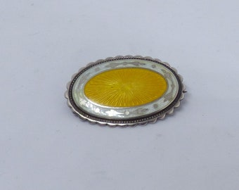 Vintage Solid Silver And Yellow And White Guilloche Enamel Oval Brooch Hallmarked For Birmingham 1915 By Arthur Johnson Smith