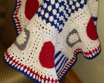"Nautical colors baby blanket 36"" x 36"""