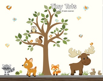 Nursery Tree Wall Decal, Forest Set with Woodland Animals-Tree Wall decal-t05