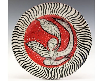 Dessert Plate - Painting by Jenny Mendes on a round ceramic dessert plate - Love Is In The Air