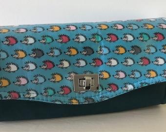 Hedgehog NCW ,Necessary Clutch wallet, leather purse , , clutch ,blue purse ,wallet