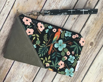 Date Night Clutch, Small Wristlet, Vegan Leather, Rifle Paper Co, Floral Fabric, Menagerie Fabric, Grey Leather, Evening Bag, Modern Clutch