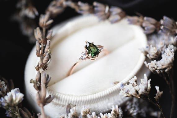 Tourmaline sapphire three stone engagement ring, pear engagement ring, alternative engagement ring, rose gold engagement ring, tourmaline