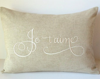 Wedding Gift. Je t'aime Love Monogram Pillow Cover made to fit a 12 x 16 Decorative Throw Pillow. French Foreign Language.