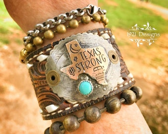 Texas strong - upcycled belt cuff - turquoise