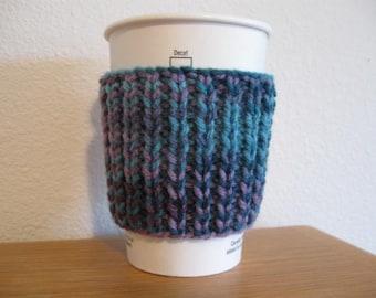Bleu tricoté pour aller coupe manche confortable
