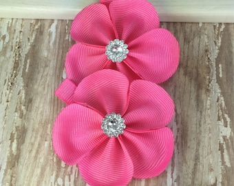 Hot Pink Flowers, Flower Hair Clip, Hot Pink Bow, Hair Clip, Flower Hair Bows, Hot Pink Hair Flower, Girls Hair Bows, Pigtail Bows