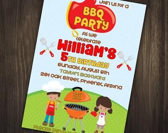 Bbq Birthday Invitation, BBQ Backyard Invitation, BBQ Party Invitation, BBQ Party, Barbeque Party, Barbeque Invitation, Birthday Invitation