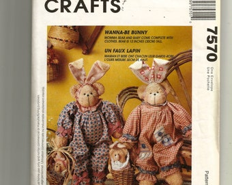 """McCall's Wanna Be Bunny 12"""" Doll Pattern 7570"""