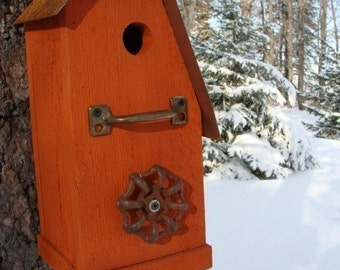 Rustic Recycled Birdhouse Outdoor Bird House Functional Birdhouses Vintage Accent Hardware Orange