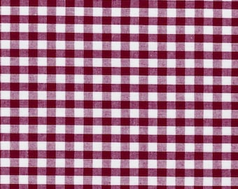 Carly BURGUNDY Mini Checkered Gingham Poly Cotton Fabric by the Yard - 10114
