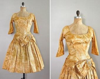 vintage 1950s GOLDEN LIGHT party dress