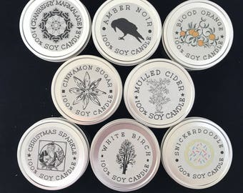 Handpoured 100% Soy Candles 8 ounce Tins