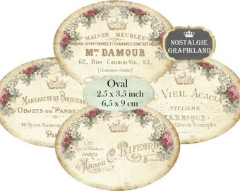 Paris Maison French Shabby Chic Oval 3.5 x 2.5 inch Label Instant Download digital collage sheet O104