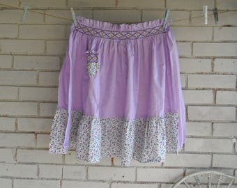 vintage apron lilac half apron cottage style apron cottage chic smocked apron kitchen apron cotton apron ladies apron retro apron - Lilac