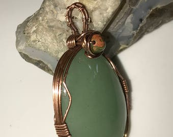A0006 Jade Gemstone in Hand Crafted Cage
