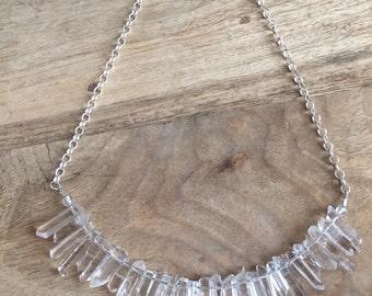 Rock crystal sterling necklace.