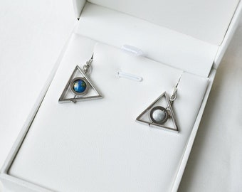 Earth Moon Triangle Earrings