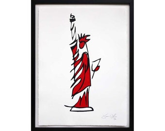 Statue of Liberty red Acrylic Painting, Unique Street Art, God Bless America Art (Medium): hand painted and framed edition by Jason Oliva