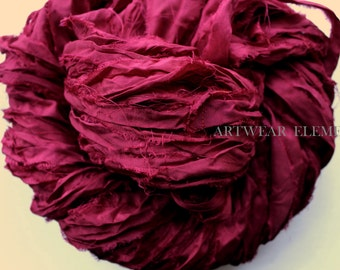 Pure Sari Silk, Dark Cherry Fuchsia, Fair Trade, 6 Yards, Textile Fiber, Yarn, Yarn, Ribbon, Silk Fabric, Green Silk, Artwear Elements, 151