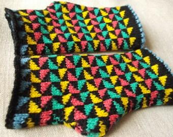 Multi color wool fingerless gloves