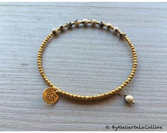 Lotus minimalist bracelet with  dalmatian jasper and iron gold hematite