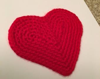 Anniversary Card -Valentines day card - Crochet red heart card - handmade
