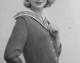 1950's Vintage Knitting Pattern Women's Sweater PDF Pattern 729-8