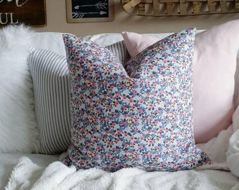Floral Pillow Cover - Rifle Paper Co - Blue and Pink