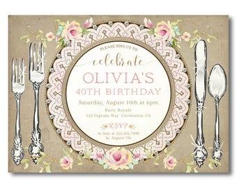 30th birthday invitations, birthday dinner party invitations, adult birthday invitations printed or digital pdf jpg, women's 30th invite