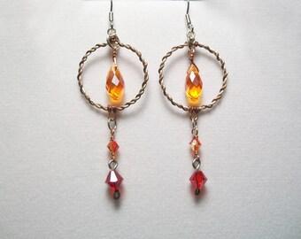 Fire Wire Wrapped Earrings, Copper and Sterling Silver Dangling Earrings, Fire drop Earrings, Red Orange and Yellow crystal Earrings