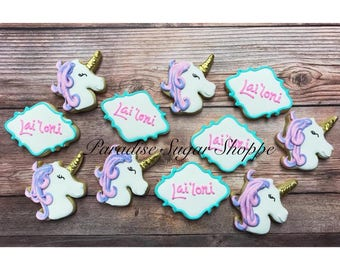 Unicorn Decorated MINI Cookies - 3 Dozen