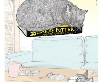 Cats print - 'Harry Potter' in English - featuring Rafi and Spageti, the famous Israeli cats from Ha'aretz Newspaper Comics